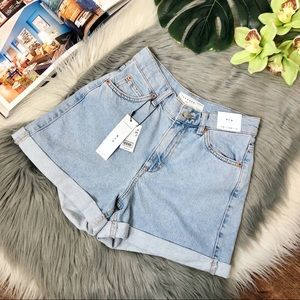 Topshop High Waist Light Wash Cuffed Mom Shorts 2